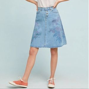 Anthropologie Pilcro Floral A-line Denim Skirt